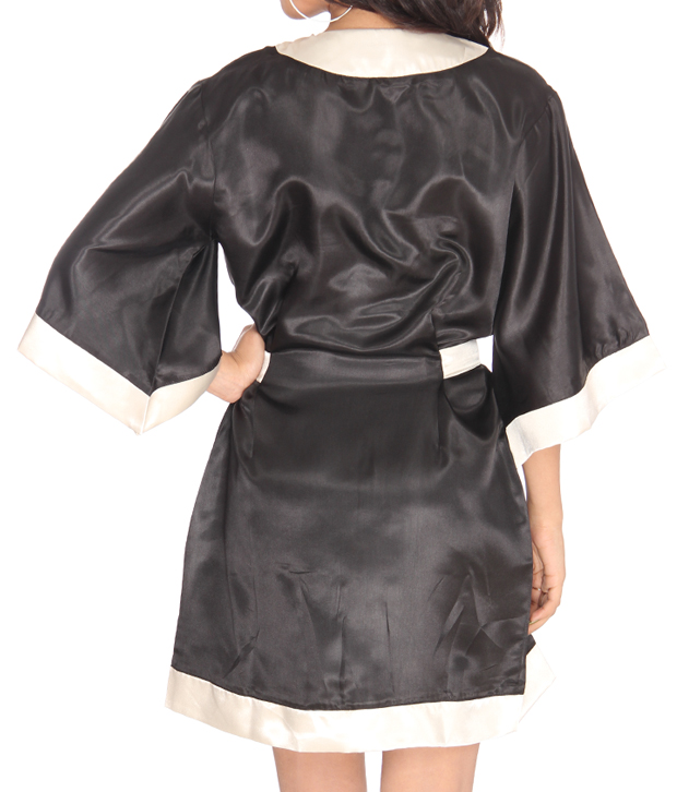 Athena Black-White Classic Bathrobe