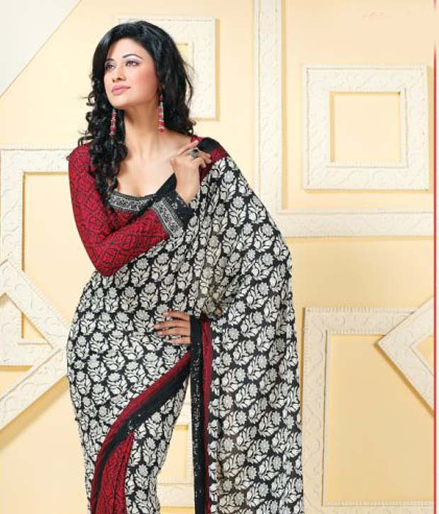 Vaishali Adorable Black And White Printed Saree With Unstitched Blouse