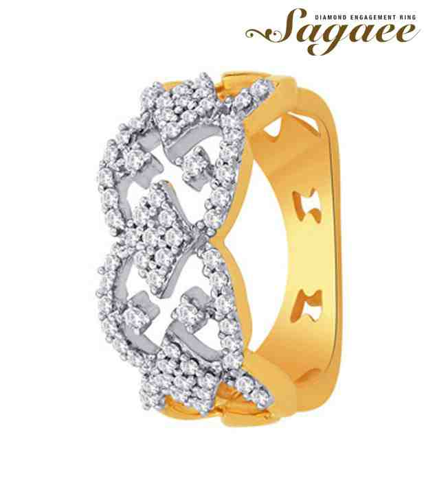 Sagaee Diamond Studded Ravishing Gold Ring