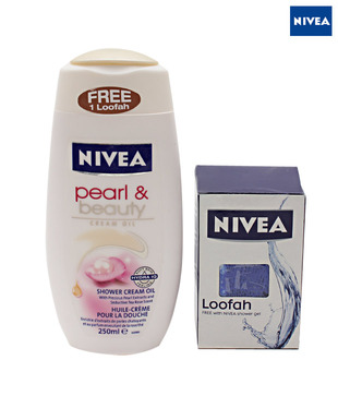 Nivea  Shower Cream Oil Pearl &Beauty 250 ml (Free-1 Loofah)