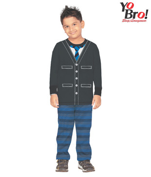 Yobro Black & Blue Night Suit For Kids